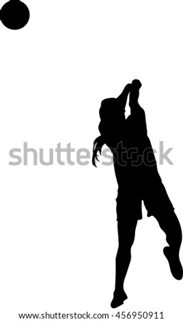 Volleyball player vector silhouette illustration isolated on white background. #456950911