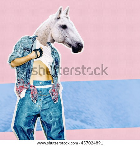 Fashion Collage Magazine. Girl with Horse Head in stylish Jeans. My Crazy Farm