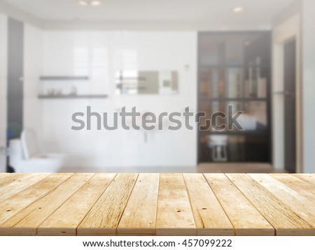 closeup top wood table with Blur Background #457099222