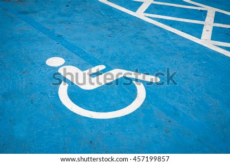 Handicap parking with disabled sign   #457199857