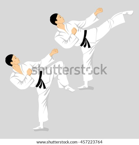 karate fighters vector illustration of isolated from the background #457223764
