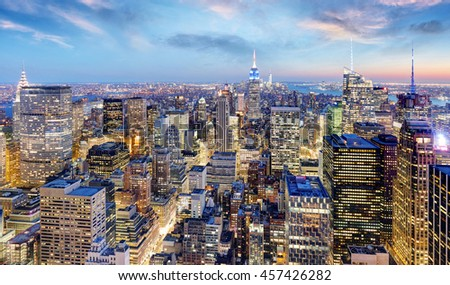 New York city at night, Manhattan, USA #457426282