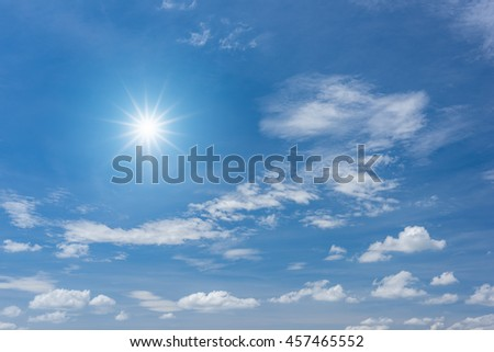 Blue sky with clouds and sun reflection #457465552