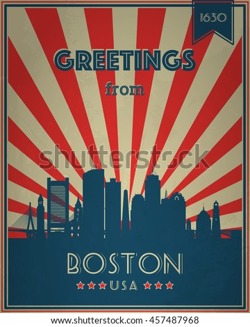 Vintage Touristic Greeting Card - Boston, Massachusetts - Vector illustration. Grunge effects can be easily removed for a brand new, clean sign.