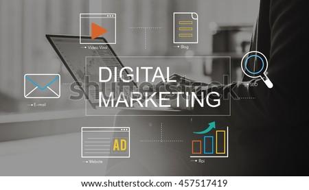 Digital Marketing Media Technology Graphic Concept Royalty-Free Stock Photo #457517419