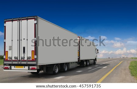 Container on the big highway. transport loads #457591735