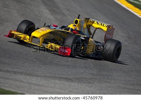 VALENCIA, SPAIN - FEBRUARY 1: F1 Test - Robert Kubica - on February 1, 2010 in Cheste, Valencia, Spain #45760978