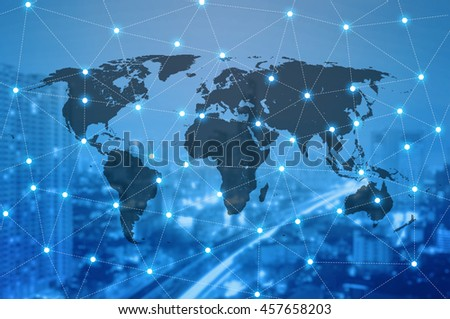 Double exposure of world map connecting and blurred cityscape of business centre , Technology and network connection concept , world map element of this image furnished by NASA