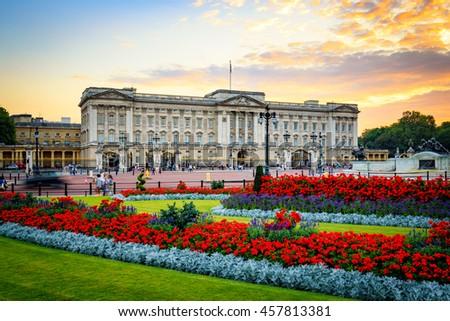 Buckingham Palace in London, United Kingdom. Royalty-Free Stock Photo #457813381
