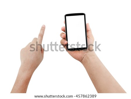 Man hands using mobile phone with white screen, isolated, #457862389