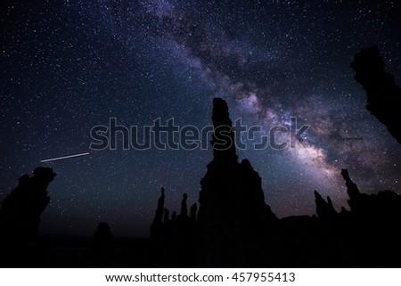 Milky Way rising over Tufa Towers Mono Lake California #457955413