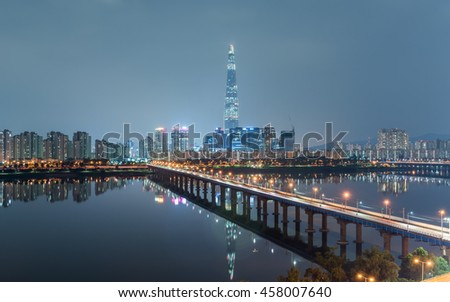 SEOUL CITY AT NIGHT IN SOUTH KOREA #458007640