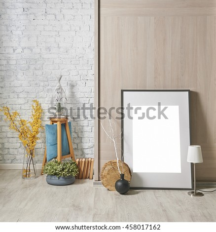 modern brick wall interior with frame and yellow flower #458017162