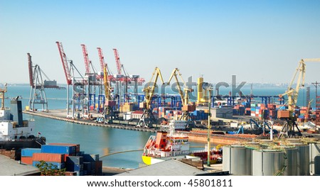 Port warehouse with containers and industrial cargoes #45801811