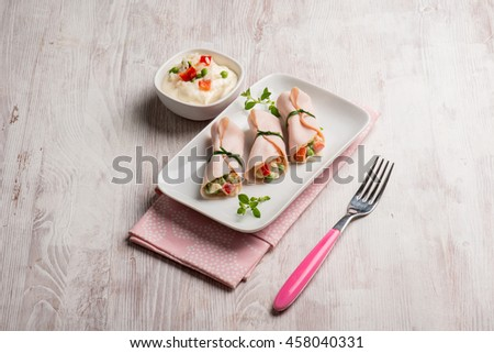 turkey ham filled with rice salad #458040331