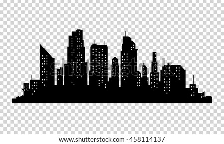 Vector city silhouette with windows. Vector Illustration Royalty-Free Stock Photo #458114137