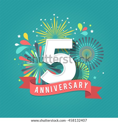 Anniversary fireworks and celebration background Royalty-Free Stock Photo #458132407