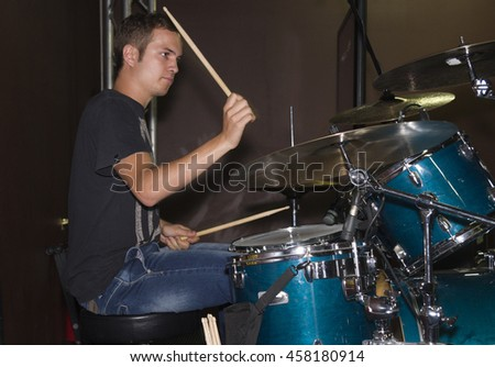 Young drummer of a new Italian group on stage #458180914