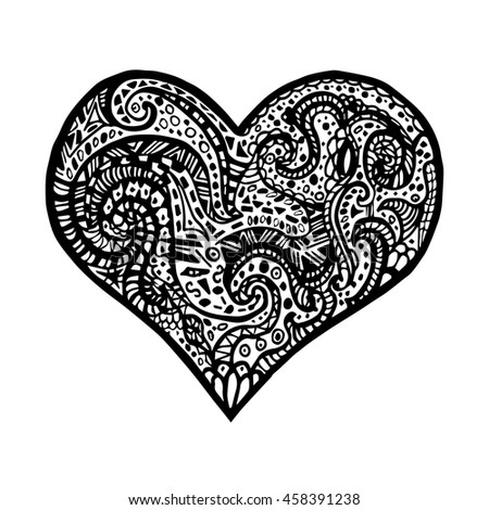 illustration of hand drawing heart. Card for Saint Valentines Day. Symbol of love. heart in zentangle style. #458391238