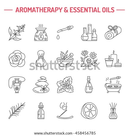 Modern vector line icons of aromatherapy and essential oils. Elements - diffuser, oil burner, spa candles, incense sticks. Linear pictogram with editable strokes for salon. #458456785