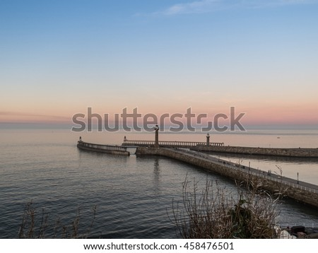 Whitby seascape in Yorkshire England UK #458476501