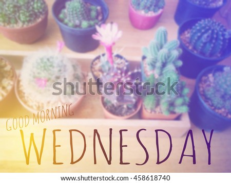 Inspirational Quote : Good morning Wednesday over blur background