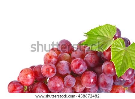 Red grape with leaf isolated on white background #458672482