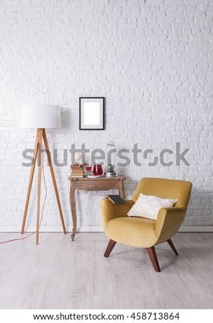 modern white brick wall and books #458713864
