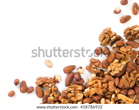 Background of mixed nuts - hazelnuts, walnuts, almonds - with copy space. Isolated one edge. Top view or flat lay #458786932