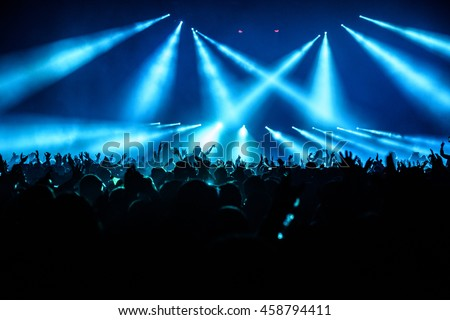 Silhouette Concert Crowd at a Music Festival - Backlit with Lighting. #458794411