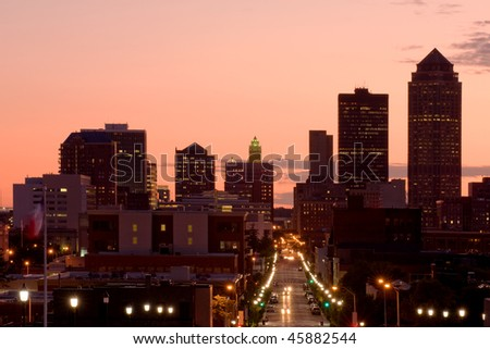 Skyline of Des Moines, Iowa - center of insurance industry in US
