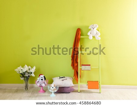 modern green wall interior and green stairs #458864680