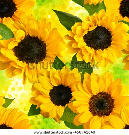 Seamless pattern with photos of sunflowers and green leaves, on vibrant yellow watercolor texture #458941648