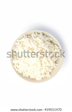 Bowl of organic white rice isolated on a white background with shadow #459011470