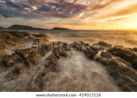 The boiling sea. - Sunset at patong beach in Phuket, Thailand captured using long exposure.