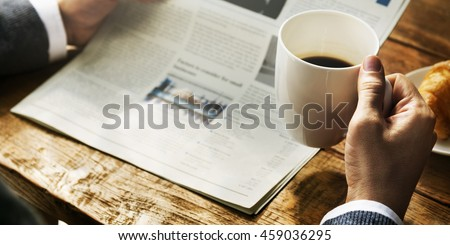 Businessman Working Reading Newspaper Information Concept Royalty-Free Stock Photo #459036295