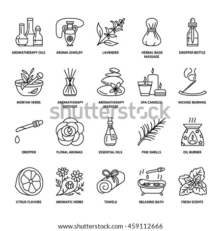Modern vector line icons of aromatherapy and essential oils. Elements - diffuser, candles, incense sticks. Linear pictogram with editable strokes for spa salon. #459112666