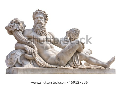 Marble statue of greek god Zeus with cornucopia in his hands isolated on white background #459127336