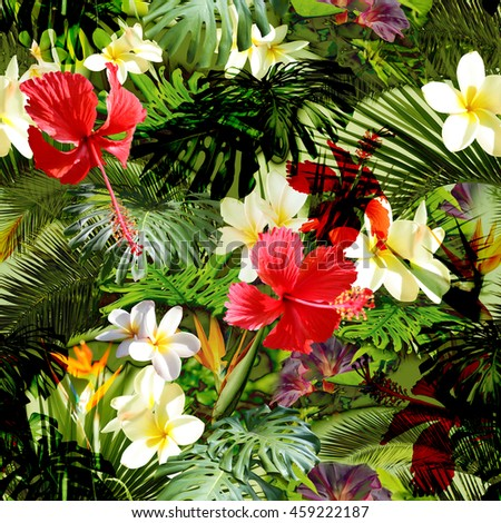 Tropical floral pattern. Exotic leaves and flowers seamless pattern. Beautiful photo collage.