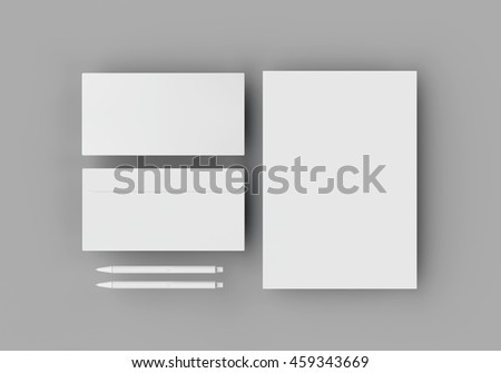 White stationery mock-up template for branding identity on gray background in weightlessness with long shadow. For graphic designers presentations and portfolios. 3D rendering. #459343669