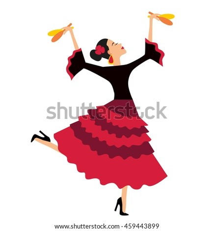 Mexican Fiesta Party Invitation with beautiful Mexican woman dancing with maracas. Illustration of beautiful latina dancer with maracas on white #459443899