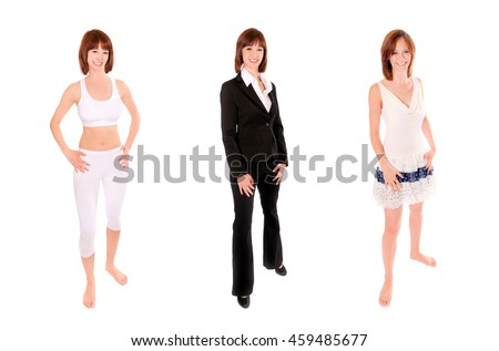 Three full length portraits of an attractive woman in business suit, casual clothing and sportswear, isolated on white studio background #459485677