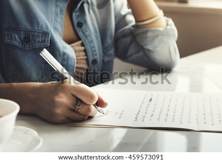 Girl Writing Letter Home Concept Royalty-Free Stock Photo #459573091