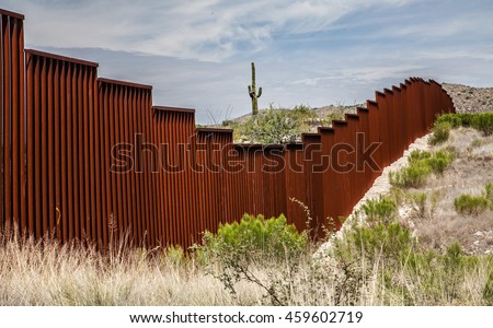 US-Mexican border in Arizona, USA #459602719