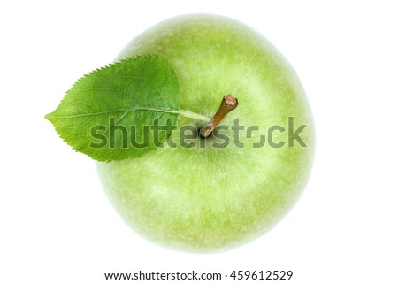 Apple fruit top view green isolated on a white background #459612529
