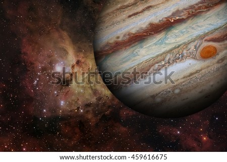 Solar System - Jupiter. It is the fifth planet from the Sun and the largest in the Solar System. Its a giant planet with a mass one-thousandth that of the Sun. Elements of this image furnished by NASA