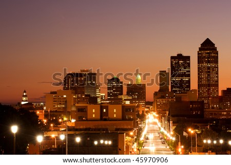 Skyline of Des Moines, Iowa - center of insurance industry in USA