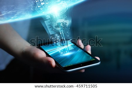 Businesswoman using digital tactile phone to send information to the world '3D rendering' 'elements of this image furnished by NASA' #459711505