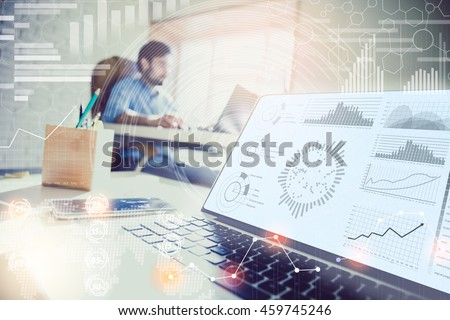 Double exposure. businessman working in modern office with modern technology. growth charts, business concept, strategy, development plans, teamwork. image filter #459745246