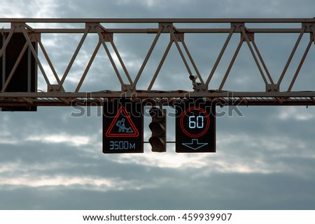 LED traffic road signs and traffic light with camera Royalty-Free Stock Photo #459939907